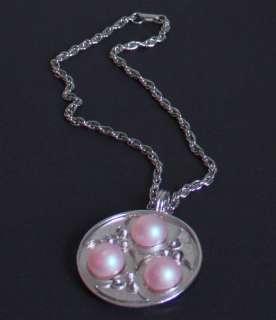 Vintage Bill Smith Richelieu Pink Pendant Necklace