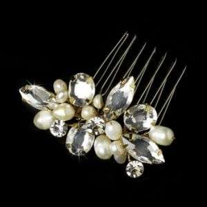 Vintage Look Gold or Silver Rhinestone Bridal Hair Comb