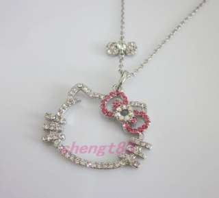 pink bow crystal pendant chain necklace eT15 kids lover gift
