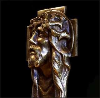 Outstanding ART DECO Bronze Cast FIGURAL WALL CROSS CRUCIFIX 1930