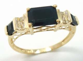 STUNNING 10KT YELLOW GOLD SAPPHIRE & DIAMOND RING SIZE 8