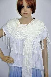 Cotton Gentle Elegant Hand Knit Lace Scarf Shawl Wrap Womens White