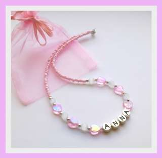 Girls Personalised Pink Love Heart Necklace Childrens Jewellery Any