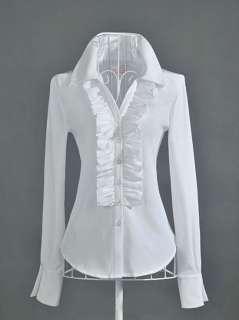 New Womens Boho Style White OL Falbala Shirt Ruffles long sleeve
