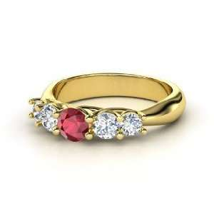 Oh La Lovely Ring, Round Ruby 14K Yellow Gold Ring with Diamond