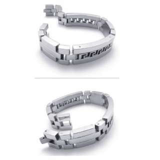 New Cool Men Silver Crystal Stainless Steel Bracelet Bangle Chain Gift