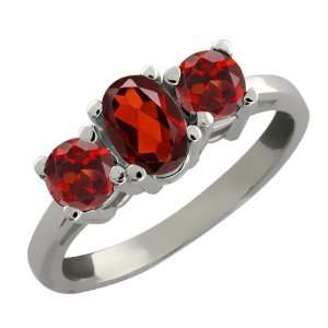 29 Ct Genuine Oval Red Garnet Gemstone 10k White Gold Ring Jewelry