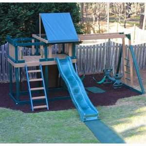 Kidwise Green Monkey Play Set I Wood Swing Set Outdoor Play