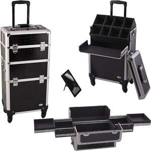 Pro Makeup Cosmetic 4 Wheel Rolling Case Croc CR3 Black