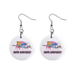Flying Super Secretary Dangle Earrings Jewelry