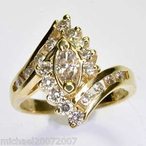 09 CARAT MARQUISE DIAMOND ENGAGEMENT GOLD RING SALE