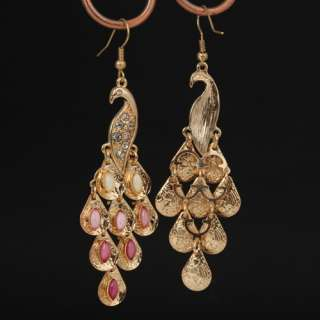 Elegant Retro Alloy/gold plated Rhinestone Peacock Earrings Eardrop