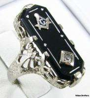 MASONIC RING   14k White Gold Diamond Onyx Square Compass Floral