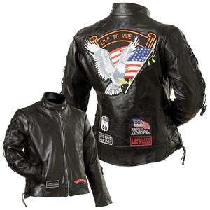 Womens Genuine Leather Motorcycle Biker Live to Ride Jacket Clothing