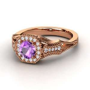 Melissa Ring, Round Amethyst 14K Rose Gold Ring with