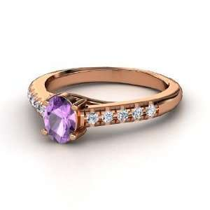 Boulevard Ring, Oval Amethyst 14K Rose Gold Ring with