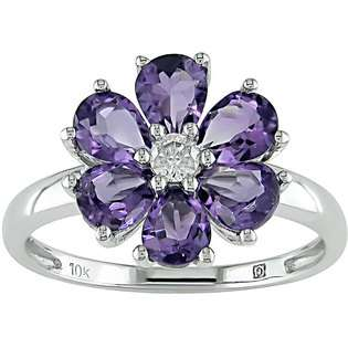 White Gold Amethyst and Diamond Ring (1/10 TDW)  Designer Diamonds.net