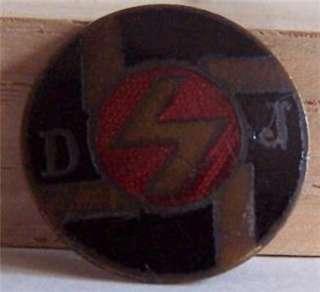 Vintage German Enameled Pin Medal ???? D J Lightning Bolt