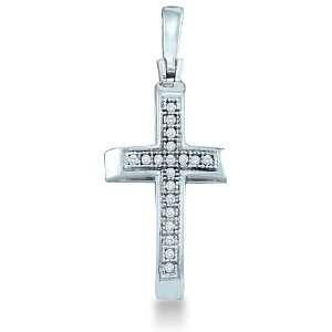 Gold Round Cut Pave Set Diamond Cross Pendant (.05 cttw) Jewelry