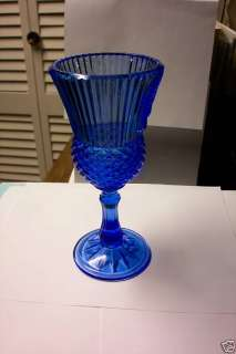 Large Blue Avon President Glass Goblet