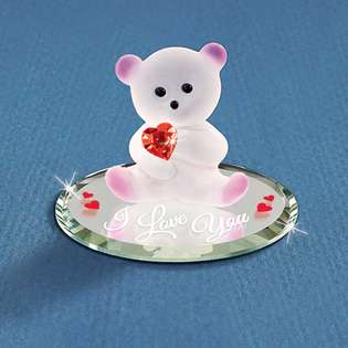 Goldia Glass Baron Bear Red Crystal Heart Glass Figurine from