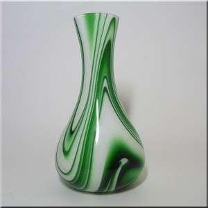 Carlo Moretti Marbled Green & White Murano Glass Vase