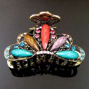 1pc Austrian rhinestone crystal Antiqued hair claw clip