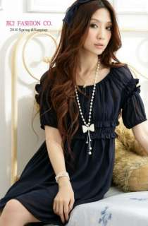wholesale Korean Style Bubble Sleeves Lacing Decorated Dress Black
