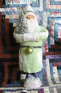 Soft Green Belsnickle Santa Paper Mache Container
