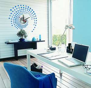 Designer Decor Wall Clock Sticker Mural Art Decals   Blue Dot