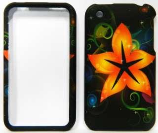 APPLE iPhone 3G 3GS HARD Case Cover ORANGE FLOWER Rubber Feel