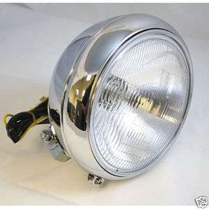 Chrome OEM Style 7 DOT Bottom Mount Headlight 4 Harley