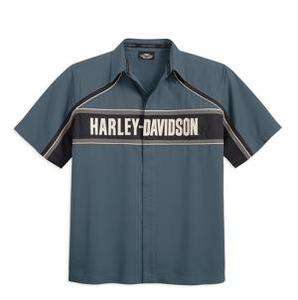 HARLEY DAVIDSON MENS SHORT SLEEVE COLORBLOCKED WOVEN SHIRT  SLATE
