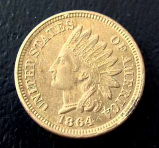 1864 UNC Copper Nickel Indian Head Penny Cent  J8