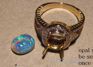 LARGE High Dome SOLID Black OPAL DIAMOND RING 14k GOLD  Layaway
