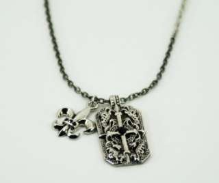 Fashion Necklace Silver Chain w/ Cross & Fleur De Lis