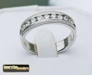 Perfect Mens 14K white gold diamond .5 ct wedding band size 10