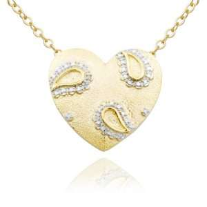 Gold Plated Sterling Silver Diamond Accent Heart Pendant, 18 Jewelry