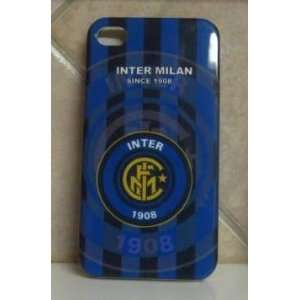 IPHONE 4G CASE BLUE/BLACK SOCCER/FOOTBALL CLUB DESIGN