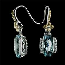 Topaz and Diamonds sterling silver 18kt yellow gold earrings
