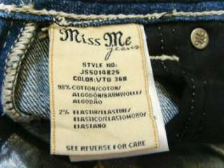 NWT MISS ME Vintage Big Thick Pick Stitch Crystal Jeans