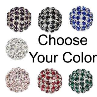 Big Silver Plated 27mm Round Rhinestone Bead with Large 4.5mm European