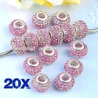 Colorful Crystal Rhinestone Resin European Big Hole Beads Fit Bracelet