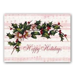 Holiday Music with Holly and Winter Roses   5 x 7 Vellum Overlay