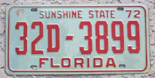 choice 1972 Florida License Plate Tag