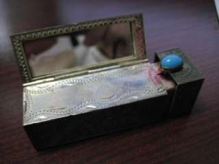 Antique Silver Lipstick Case with Mirror & Turquoise