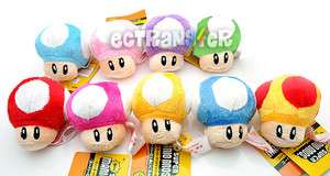 Lot 9 Super Mario Bros 2.5 MUSHROOM Plush Toy/MW556