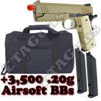 WE 4.3 Desert Warrior Tan 1911 Airsoft Gas Blowback Pistol Gun Case
