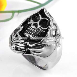New Mens Punk Gothic Stainless Steel Black Evil Skull Ring Size11