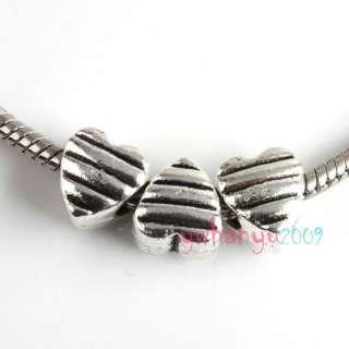 10pcs Tibet Silver Heart Charms Bead Fit Bracelet P2034